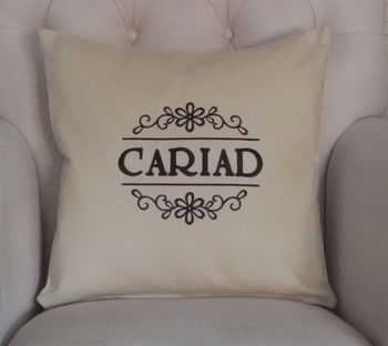 'CWTCH' Embroidered Cushion