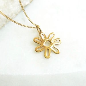 Gold Daisy Necklace With Birthstone Option - necklaces & pendants