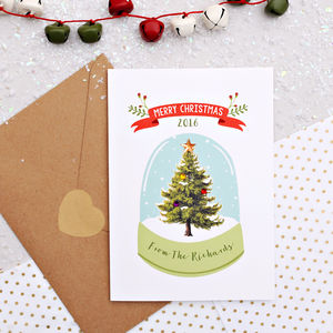 Personalised Snowglobe Christmas Card With Diamantes - cards