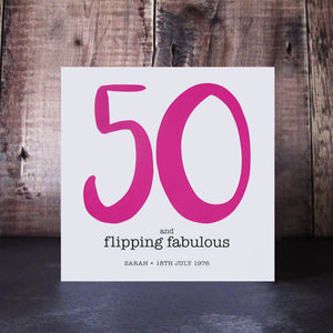 50 And Flipping Fabulous Birthday Card - summer sale