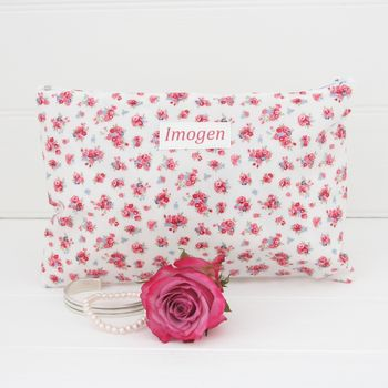 Personalised Floral Make Up Bag