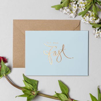 'Eat, Pray, Fast' Ramadan Powder Blue Greeting Card
