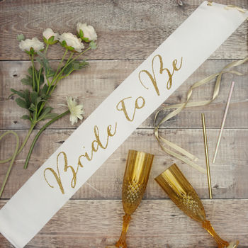 Hen Party White Satin Bride To Be Sash