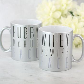 Hubby And Wifey Mc Face Wedding Mugs