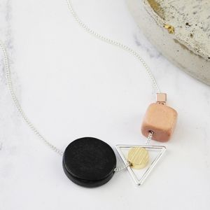 Geometric Wooden Cluster Pendant Necklace