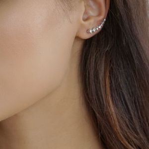 Delicate Rhinestone Climber Earring - earrings