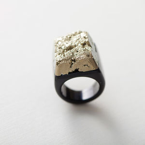 Hand Carved Pyrite And Agate Crystal Ring - fashion jewellery