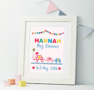 Girls Personalised Elephant Framed Print