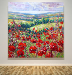 Very Large Original Print Of Poppies In A Sussex Meadow - canvas prints & art