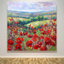 Very Large Original Print Of Poppies In A Sussex Meadow