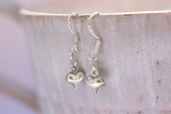 'Unwrap a Card' Silver Puffed Heart Earrings gift