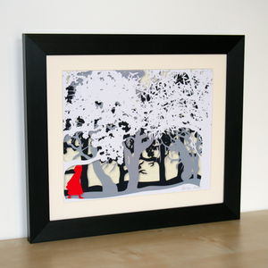 Little Red Cap Signed Papercut Print - summer sale