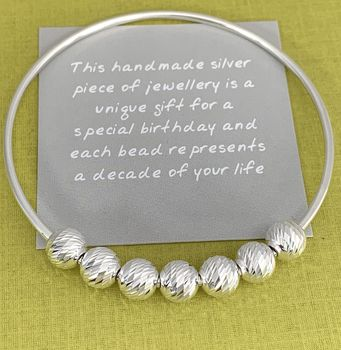 70th Birthday Sparkly Beads Handmade Silver Bangle