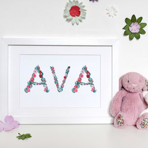 Personalised Floral Name Watercolour Print - baby's room