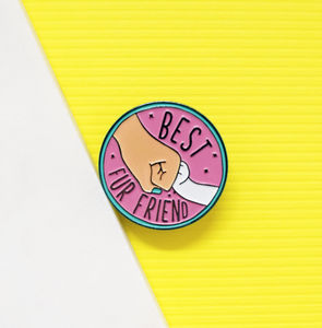 30mm Best Fur Friend Bff Enamel Pin Badge - pins & brooches