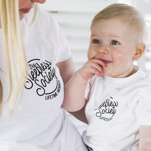 Mummy And Me 'Sleepless Society' T Shirt Set - for new mums