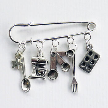 Personalised Baking Lover's Kilt Pin Brooch