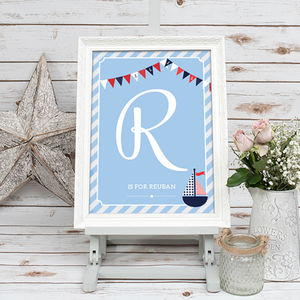 Personalised Initial Nautical Nursery Print