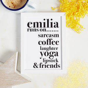 Personalised My Best Friend Runs On Print - typography