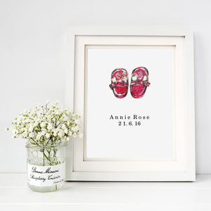 Personalised New Baby Tiny Shoes Fine Art Print