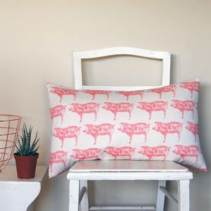 Large Rectangle Pig Cushion - winter sale