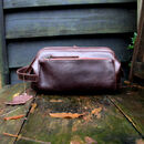 Personalised 'Zipped Leather Wash Bag' Conker Brown