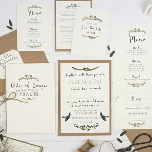 Sample Set Of Illustrated Wedding Invitations - invitations