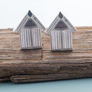 Beach Hut Cufflinks - cufflinks