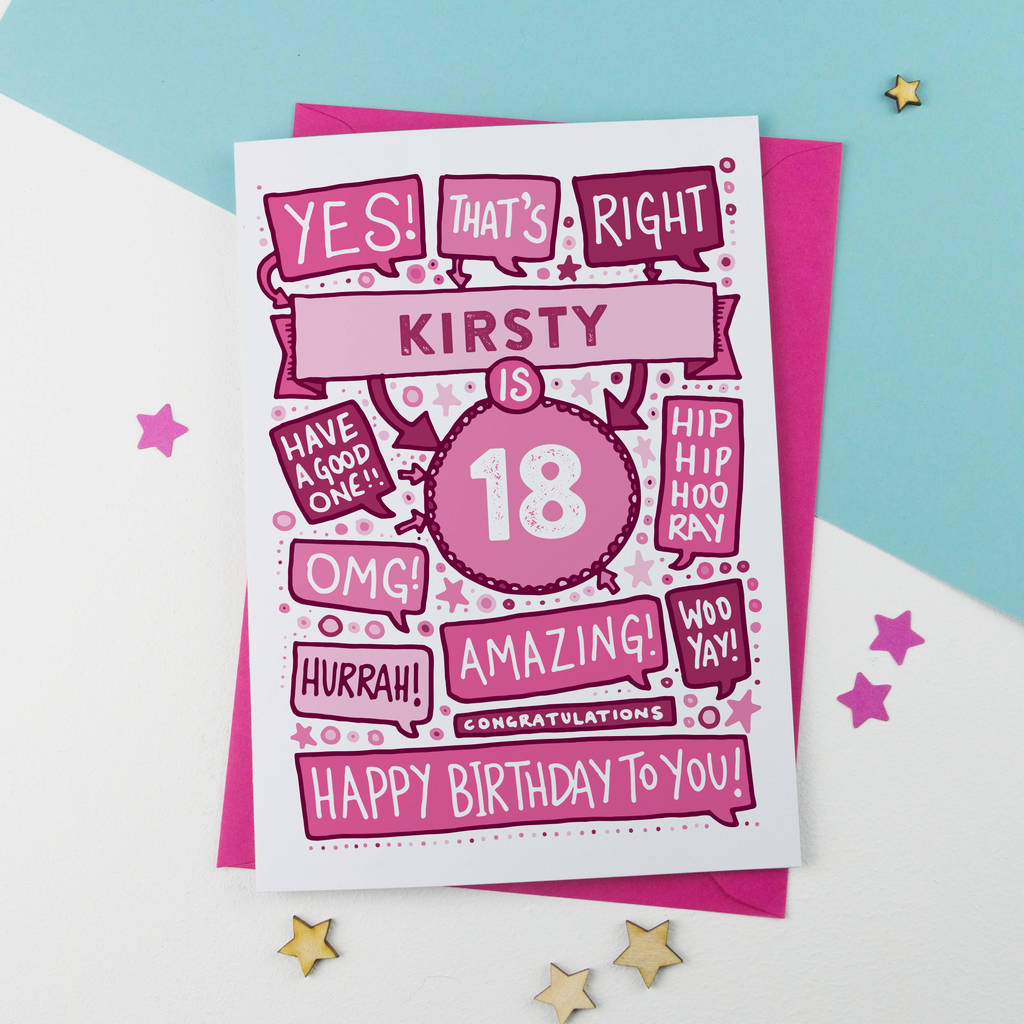 18th Thats Right Personalised Birthday Card Pink By A Is