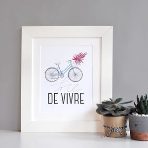 Illustrated French 'Joie De Vivre' Bicycle Print - typography