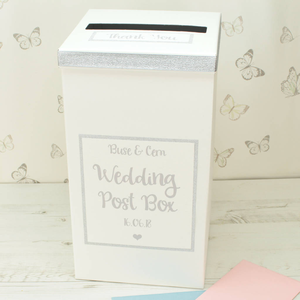 White Wedding Post Box: Personalised Silver Sparkle Wedding Post Box By Dreams To