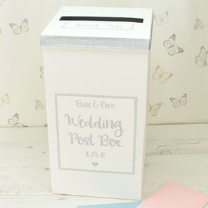 Personalised Silver Sparkle Wedding Post Box - new in wedding styling