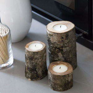 Set Of Three Natural Wooden Tealight Holders