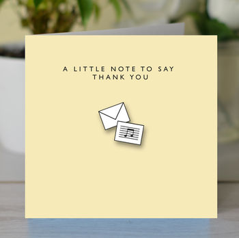 Pack Of Six 'Note To Say Thank You' Cards