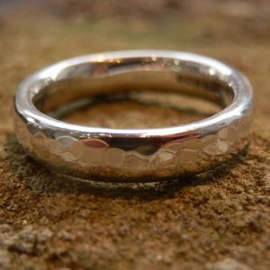 Silver Hammered Mens Ring - rings