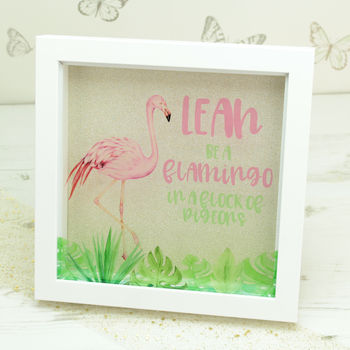 Personalised Pink Flamingo Box Framed Print