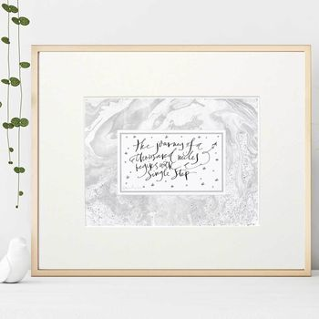 Inspiring Quote 'The Journey Of A 1000 Miles' Art Gift