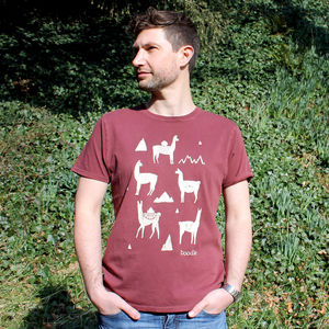 Organic Mens Llama T Shirt - men's fashion