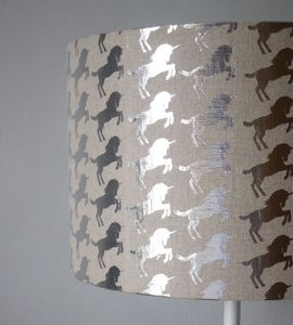 Silver Unicorn Lampshade - bedroom