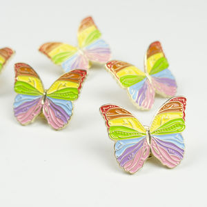 Rainbow Butterfly Pin - children's jewellery