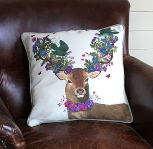 Deer And Green Birds Decorative Cushion - bedroom
