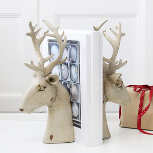 Cream Distressed Stag Bookends