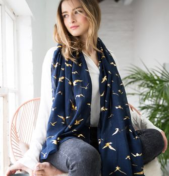Personalised Gold And Navy Bird Print Scarf