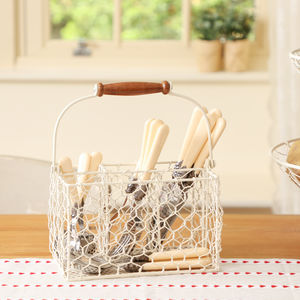 Cream Farmhouse Chickenwire Cutlery Caddy