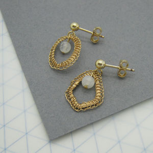 Asymmetrical Stud Earrings With Moonstones - earrings