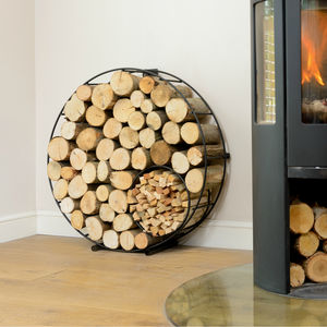 Circular Round Metal Log And Kindling Holder - log baskets
