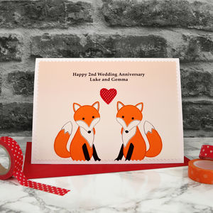 'Foxes' Personalised Anniversary Card