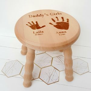 Personalised Child's Handprint Wooden Stool - furniture