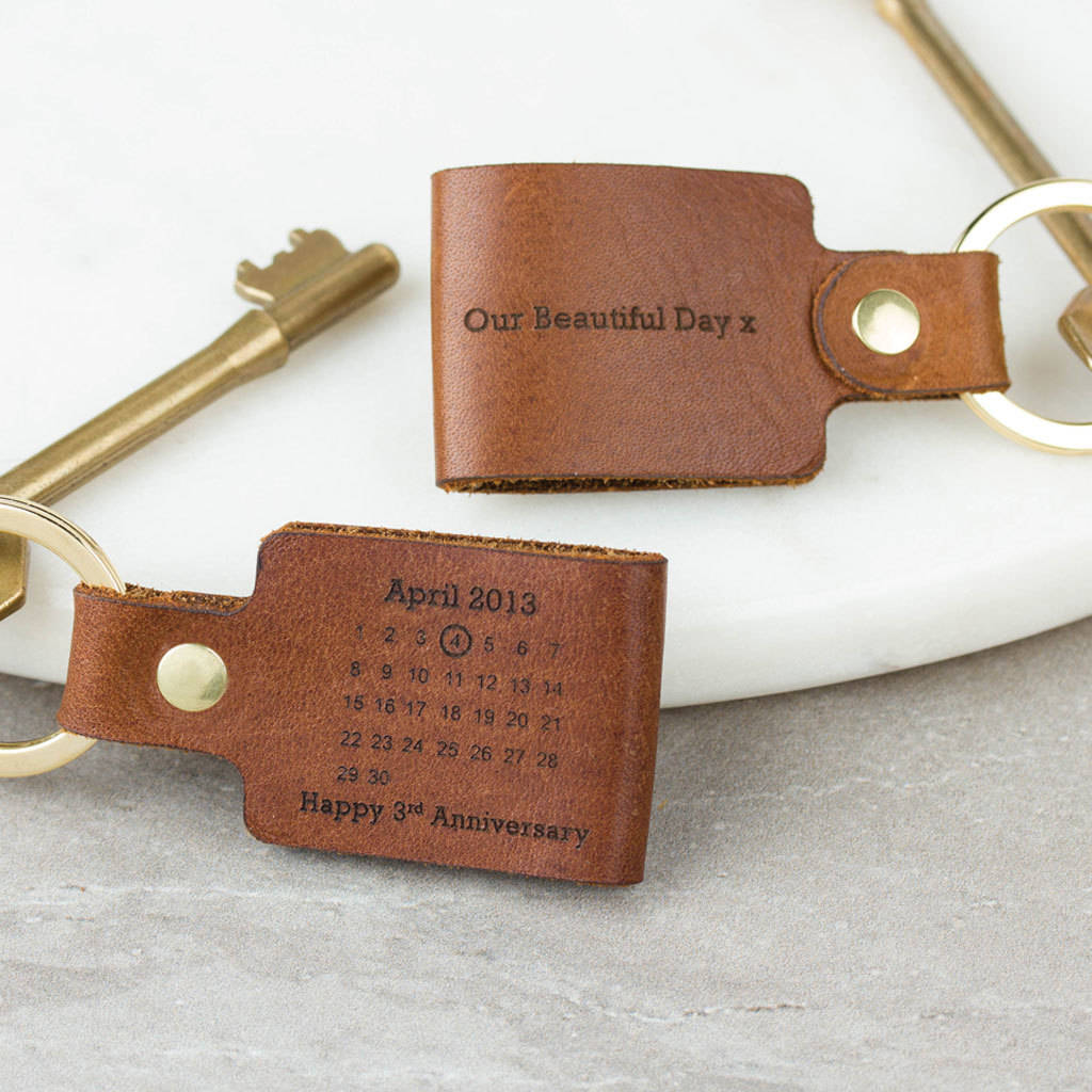 Personalised Third Wedding Anniversary Leather Keyring By Year