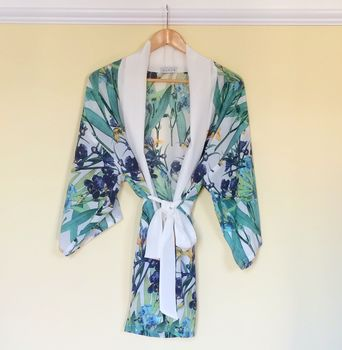 Blue and White Floral Silk Kimono